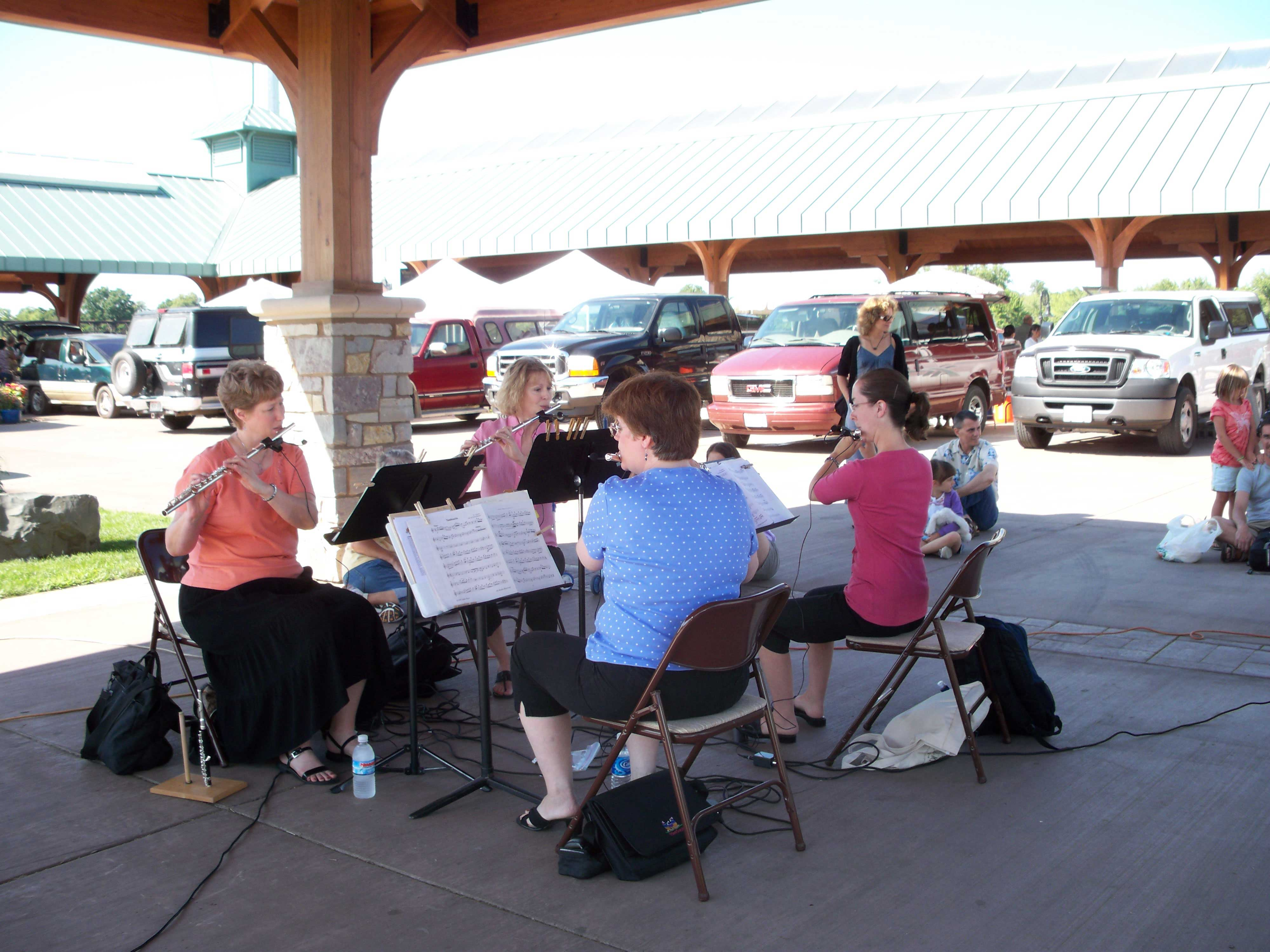 This is a picture of a group playing flutes.